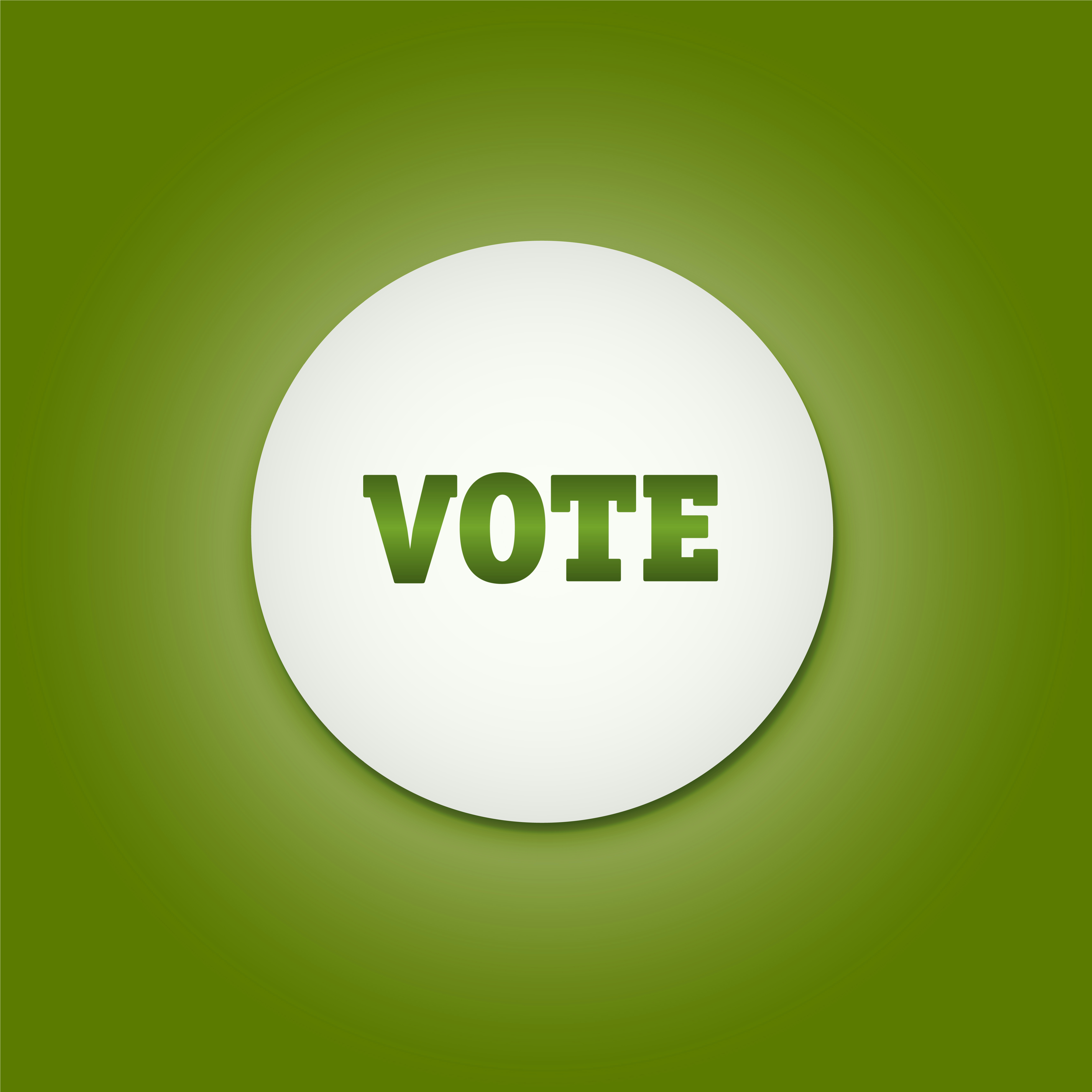 white circle with the word vote inside
